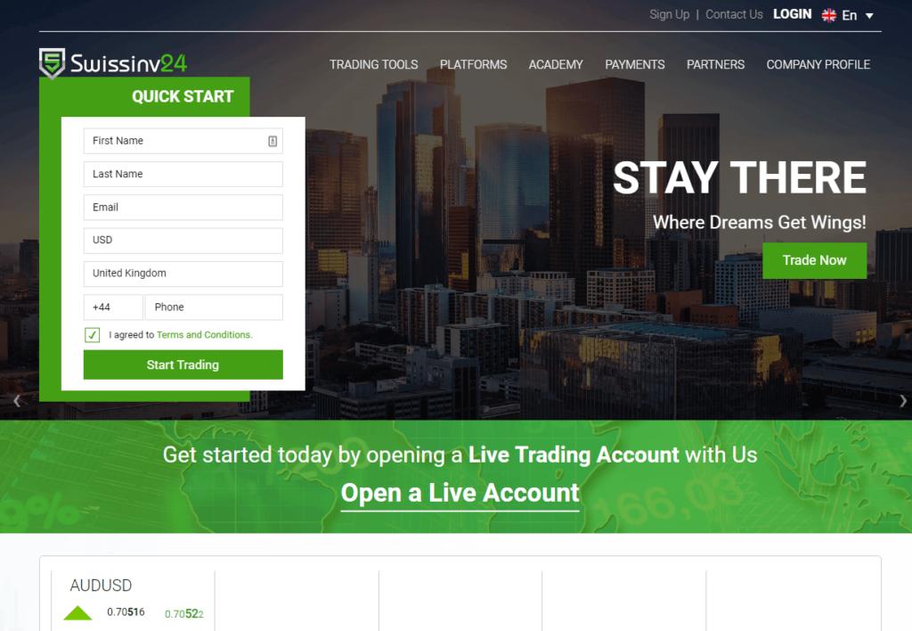 Swissinv24 è una TRUFFA?🥇| Leggere Prima di Iniziare - swissinv24 homepage 1024x708